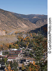 Small Colorado Mountain Town - Looking down on small...