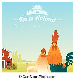 Farm animal and Rural landscape background with chicken 2 -...