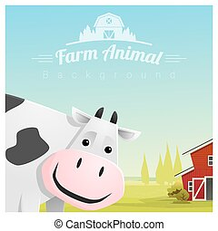 Farm animal and Rural landscape background with cow 3 - Farm...