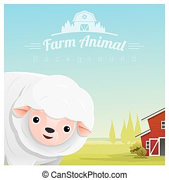 Farm animal and Rural landscape background with sheep 2