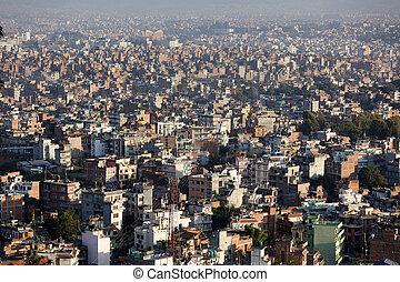 kathmandu city panorama - large view of kathmandu city,...