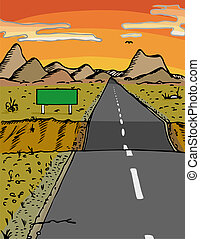 Dip In The Road - Road with dip and blank sign in a desert...
