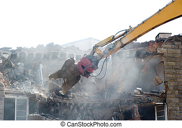 demolition power shovel - demolition excavator at work on an...