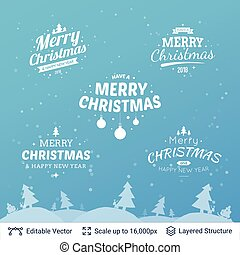 Christmas background design template. - Winter forest and...