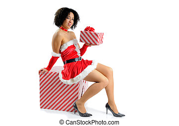 Sexy Santa - Beautiful Young Woman Dressed In A Sexy Santa...