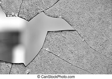 broken glass window - Broken glass window cracked surface...