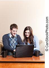 användande, par,  laptop