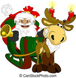 Santa with sleigh - Illustration of Santa Clause and Rudolph...