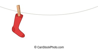 Single Red Sock On Clothes Line - Single red sock hanging on...