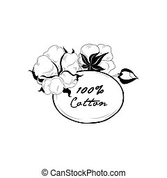 Cotton label. Natural material sign with cotton flower boll....