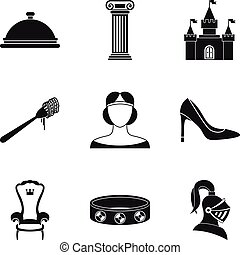 Gaiety icons set, simple style - Gaiety icons set. Simple...