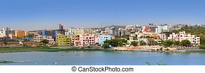 Hyderabad  - Panoramic view of an Indian city Hyderabad
