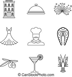 Gluttony icons set, outline style