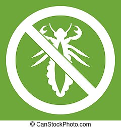 No louse sign icon green - No louse sign icon white isolated...