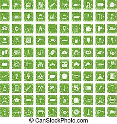 100 working professions icons set grunge green - 100 working...