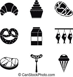 Grease icons set, simple style - Grease icons set. Simple...