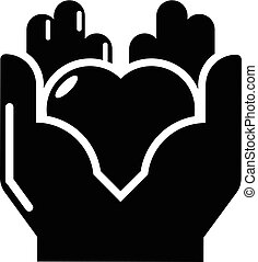 Hand heart icon, simple black style - Hand heart icon....