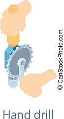 Hand drill icon, isometric 3d style - Hand drill icon....