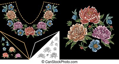 Embroidery design with peonies - Embroidery design....