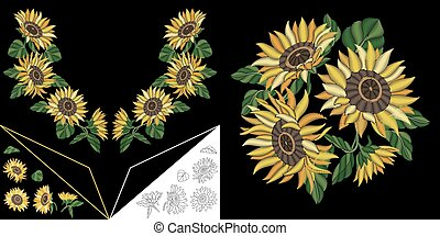 Embroidery design with sunflowers - Embroidery design....