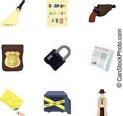 A detective, a pistol in a holster, a police badge, a...