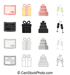 Wedding, celebration, attributes and other web icon in...