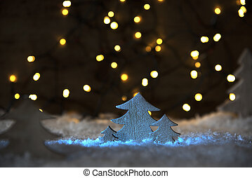 Wooden Christmas Tree, Lights, Snow - Wooden Christmas Tree...