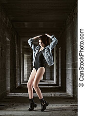 Beautiful girl wearing body and jeans jacket - Concept:...