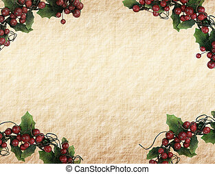 cherry framework of christmas decorations on paper