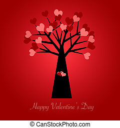 Valentines Day Tree with Red and Pink Hearts Red