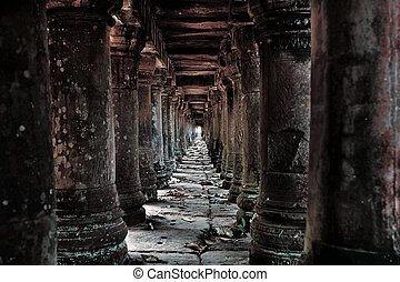 Cambodian temple ruins - Long stone corridor in Cambodian...