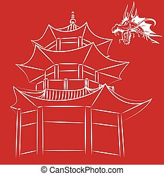 Chinese holiday home Asian house Icon china