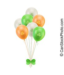 Bundle balloons green bow isolated. A bundle of balloons...