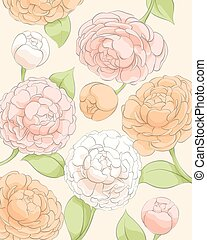 Delicate peonies on a light background - Beautiful...