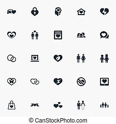 Vector Illustration Set Of Simple Feelings Icons. Elements...