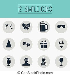 Vector Illustration Set Of Simple Banquet Icons. Elements...