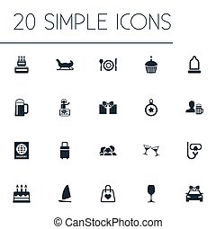 Vector Illustration Set Of Simple Vacation Icons. Elements...