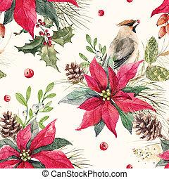 Watercolor christmas pattern - Beautiful seamless christmas...