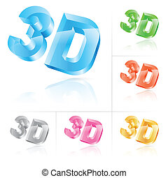 Symbol 3d - Set of symbol 3d. Vector illustration on white...