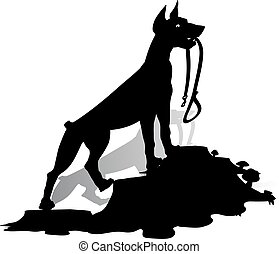 Silhouette of a Dog (Doberman Pinscher) holds a leash, and...