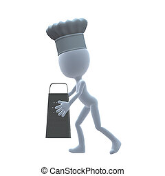 3D Chef Guy - 3D chef guy holding a grater on a white...