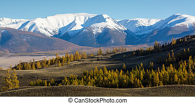 Panoramic view of the mountains of Altai-Chuya ridge, West...