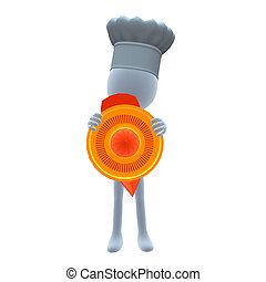 3D Chef Guy - 3D chef guy holding a orange juice squeezer on...