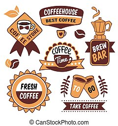 Coffee To Go Logos - Coffee to go brown logos with cups and...