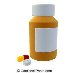 Bottle Of Pills - Bottle of pills on a white background