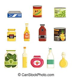 Canned goods vector set - Cartoon canned goods set. Tinned...