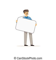 Businessman character with empty message board, speech...