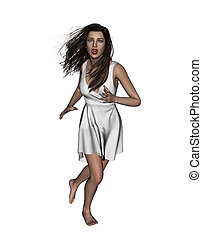 Scared woman running away - 3d illustration of Scared woman...
