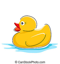 duck in water - illustration of duck in water on white...
