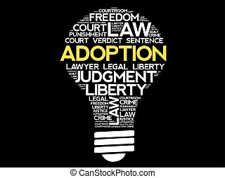 Adoption bulb word cloud collage, concept background
